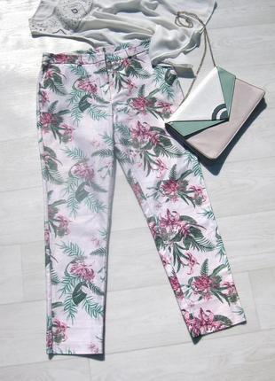 Брюки штаны kiabi белые разноцветные цветочный принт