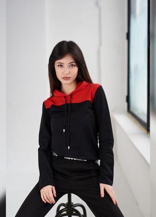 Акция! стильная черная кофта с красным капюшоном, 8 цветов, молодежная женская худи, спортивная