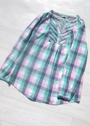 Яркая нежная рубашка tu в клетку разноцветная бирюзовая с розовым коттон