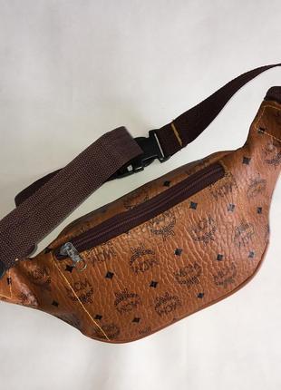 Кожаная монограмм сумочка сумка бананка на пояс mcm4 фото