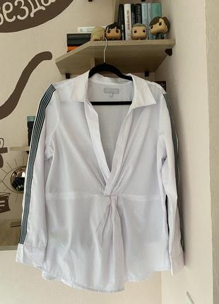 Белая рубашка на запах сорочка узел с лампасами блуза блузка большой у