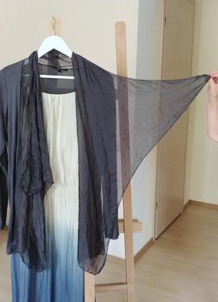 Трикотажная легкая шелковая накидка кофта кардиган шелк бохо италия