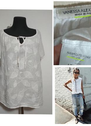 Фирменная базовая натуральная льняная блузка рубашка 100% лён