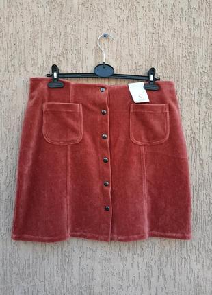 Новая тёплая вельветовая юбка tu