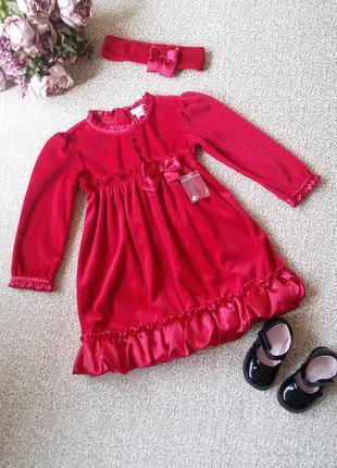 Нарядное бархатное красное платье 3 года 98 см