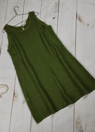 Платье льняное шикарное зеленое итальянское uk 16-18