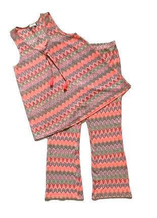 Летний брючный костюм брюки блуза размер 16/42/xl/50