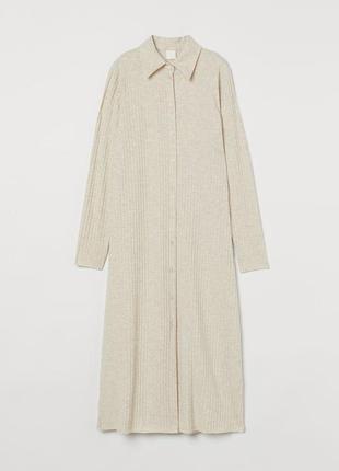 Платье-рубашка в рубчик