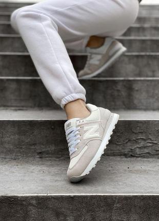 New balance 574🆕женсике замшевые кроссовки нью беланс 573🆕дышащие бежывые с белым8 фото