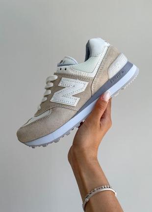 New balance 574🆕женсике замшевые кроссовки нью беланс 573🆕дышащие бежывые с белым2 фото