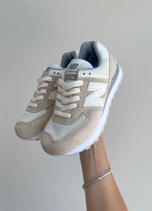 New balance 574🆕женсике замшевые кроссовки нью беланс 573🆕дышащие бежывые с белым9 фото