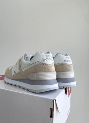New balance 574🆕женсике замшевые кроссовки нью беланс 573🆕дышащие бежывые с белым4 фото