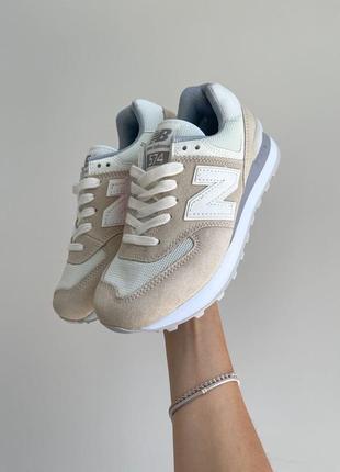 New balance 574🆕женсике замшевые кроссовки нью беланс 573🆕дышащие бежывые с белым