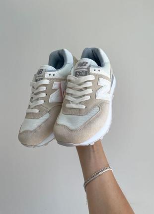 New balance 574🆕женсике замшевые кроссовки нью беланс 573🆕дышащие бежывые с белым6 фото