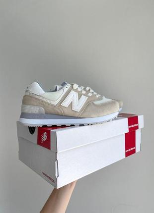 New balance 574🆕женсике замшевые кроссовки нью беланс 573🆕дышащие бежывые с белым7 фото