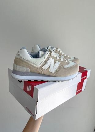 New balance 574🆕женсике замшевые кроссовки нью беланс 573🆕дышащие бежывые с белым10 фото
