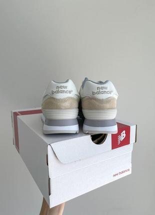 New balance 574🆕женсике замшевые кроссовки нью беланс 573🆕дышащие бежывые с белым5 фото
