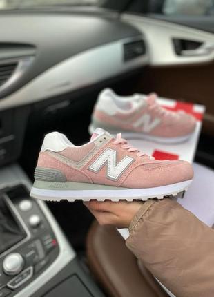 New balance 574🆕женсике замшевые кроссовки нью беланс 573🆕дышащие розовые с белым
