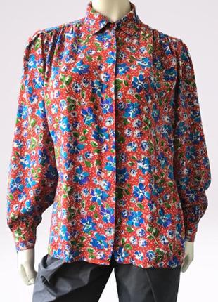 Винтажная шелковая блуза (100%) с ярким цветочным принтом бренда brillante, швейцария
