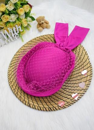 Шляпка винтажная ручная робота с вуалью розовая капелюш шляпка