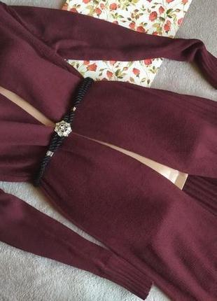 Отличный удлиненный кардиган цвет бордо,марсала