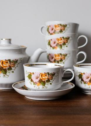 Винтажный чайный сервиз 70-х, ссср винтаж, советский фарфор 1 сорт. чашка,чайник, тарелка