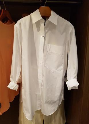 Белая рубашка оверсайз из поплина massimo dutti! оригинал, португалия!