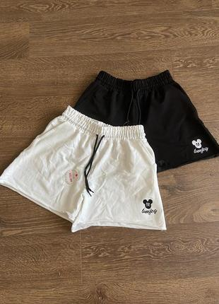 Шорти короткі трикотажні широкі, шорты короткие широкие с завышенной талией