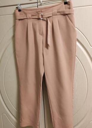 Женские летние брюки штаны с защипами впереди высокой талией, р.52 -uk16