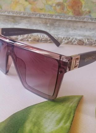 Эксклюзивные брендовые солнцезащитные очки маска цвет мокко с золотой эмблемой