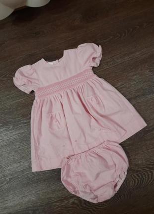 Красивое платьице с трусиками  для девочки 9 -12 месяцев
