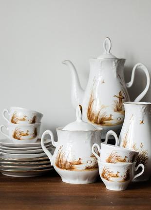 Полный винтажный кофейный сервиз, тонкий фарфор, ссср винтаж, чашка с блюдцем, чайник, ваза