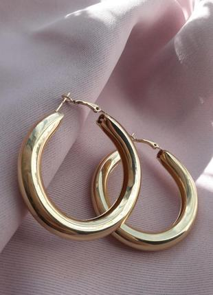 Серьги кольца винтаж под золото
