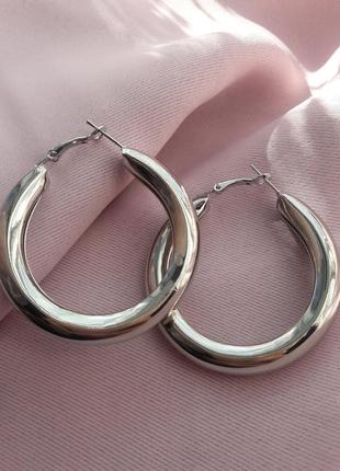 Серьги кольца винтаж под серебро