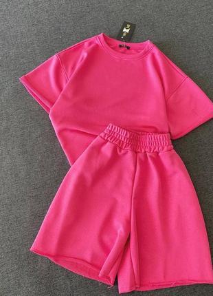 Рожевий костюм шорти футболка розовый костюм трикотаж шорты футболка