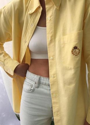 Рубашка оверсайз ralph lauren с логотипом на груди винтаж винтажная
