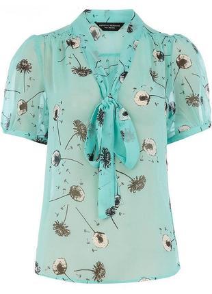 Бирюзовая блуза с одуванчиками и завязками / большая распродажа!