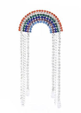 Брошь радуга, украшена кристаллами и подвесками