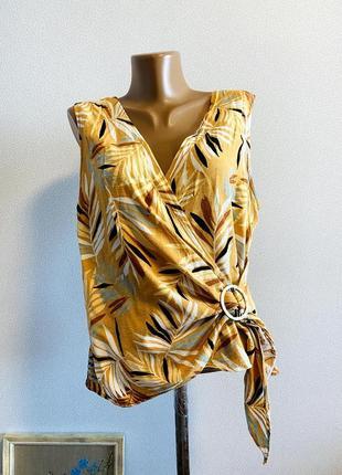 Блуза на запах с декоративной бляхой / большая распродажа!