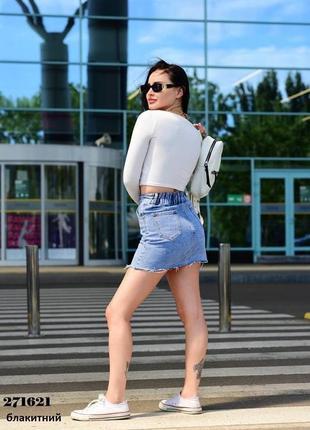 Голубая джинсовая юбка5 фото