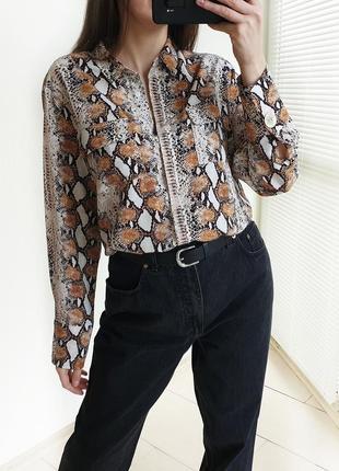 Шифоновая рубашка в леопардовый принт