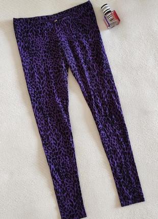 Фиолетовые лосины анималистичный принт