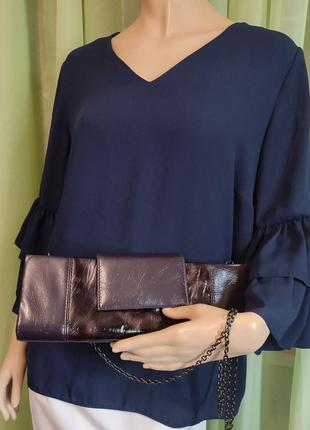 """Блуза тёмно-синяя """"yessica"""" , eur 46 , 100% полиэстер , рукав с двойной оборкой."""