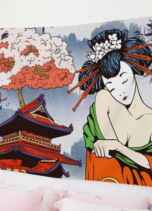 Картина-гобелен текстильный гейша смущена