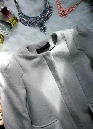 Серое пальто кашемир без воротника зима осень