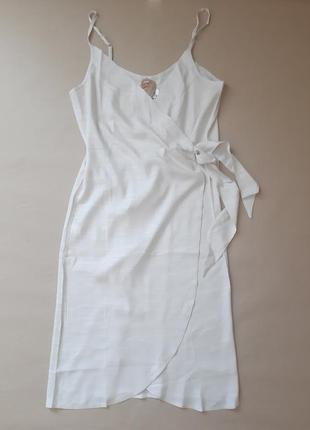 Хлопковое платье сарафан миди длинное на запах халат натуральное свободное