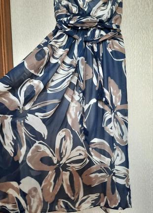 Летнее шелковое синее платье сарафан