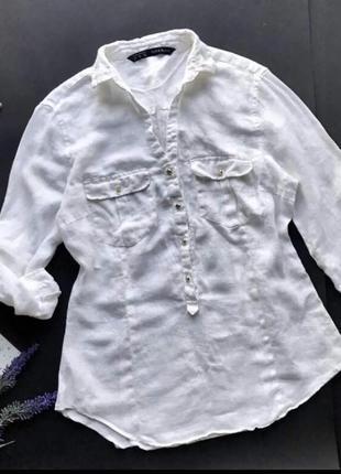 Льняная блуза zara р.xs-s
