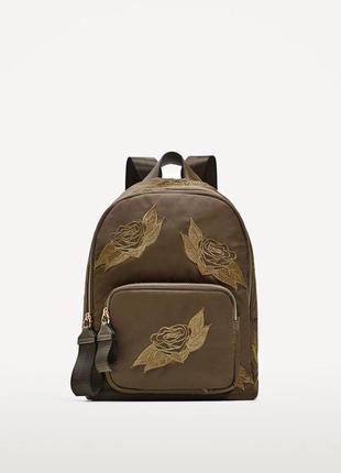 Новый рюкзак из ткани с вышивкой zara