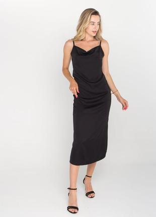 Хит! легкое шёлковое чёрное платье на тонких брителях/платье комбинация/шовкова сукня на брительках
